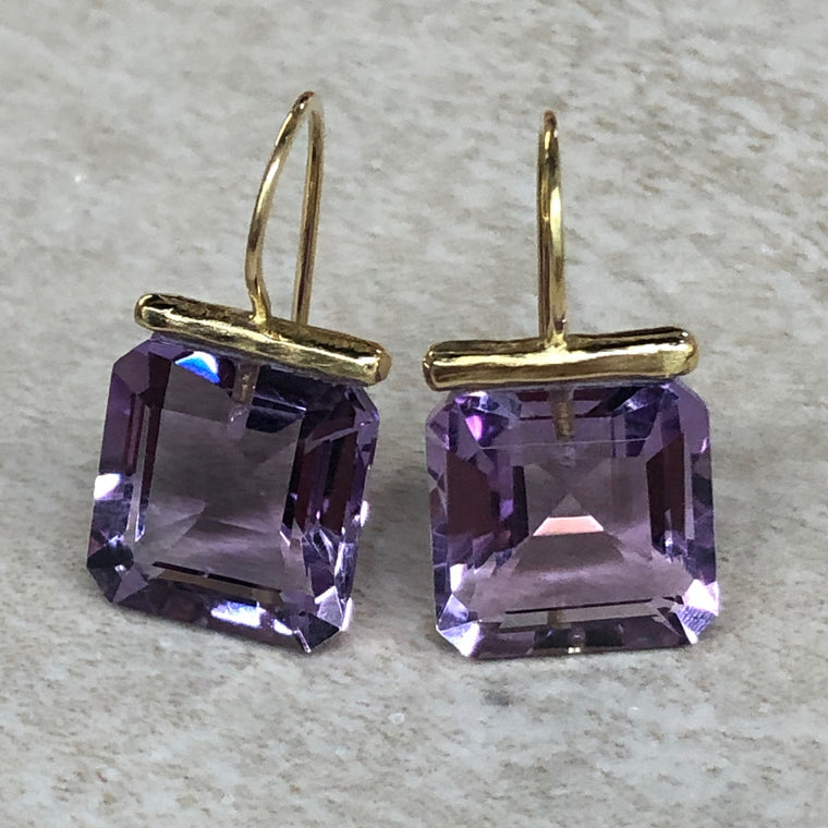 Pink Amethyst Square Drops
