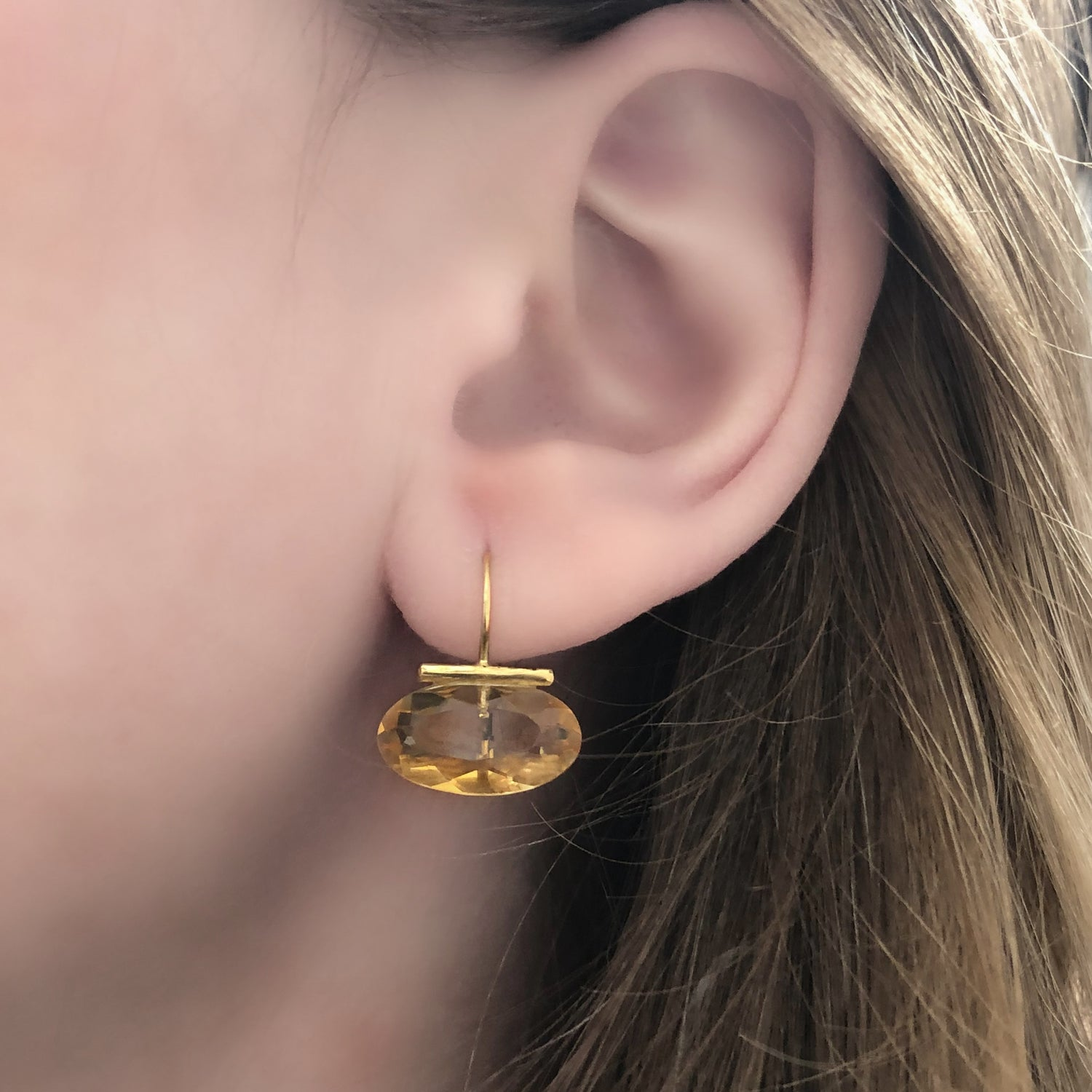 Gold Oval Citrine Bar Drops