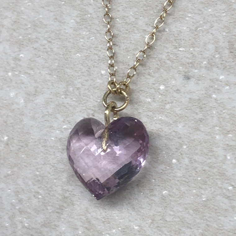 Gold Amethyst Heart Necklace