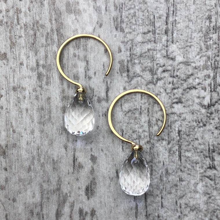 Gold Crystal Quartz Briolette Hoops