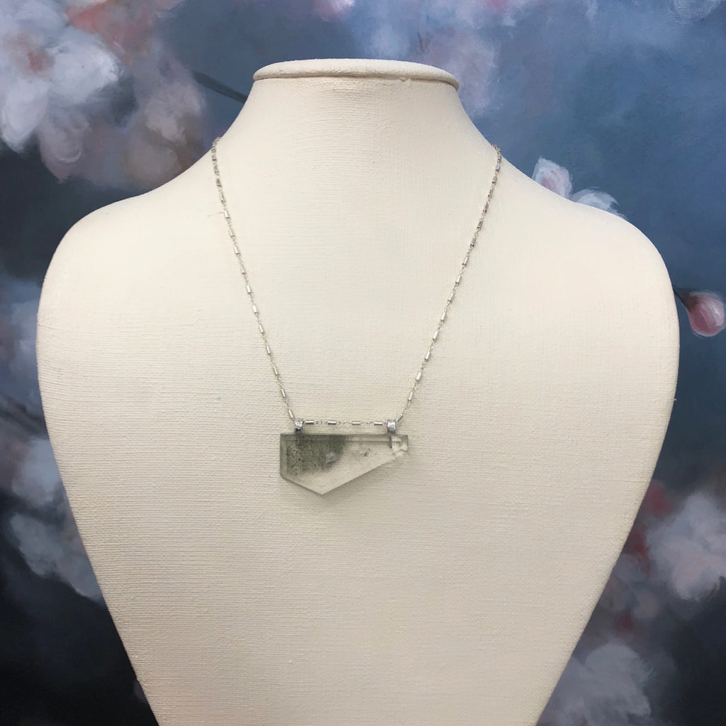 Green Quartz Geometric Necklace