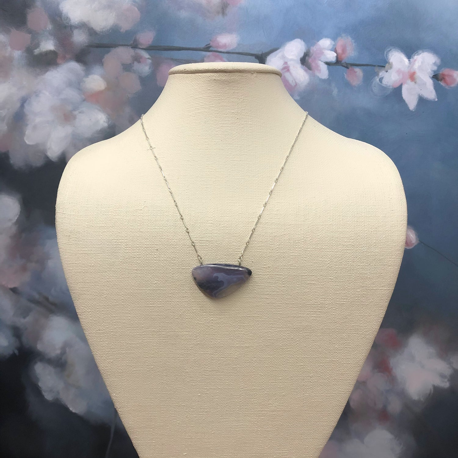 Moss Chalcedony Wave Necklace