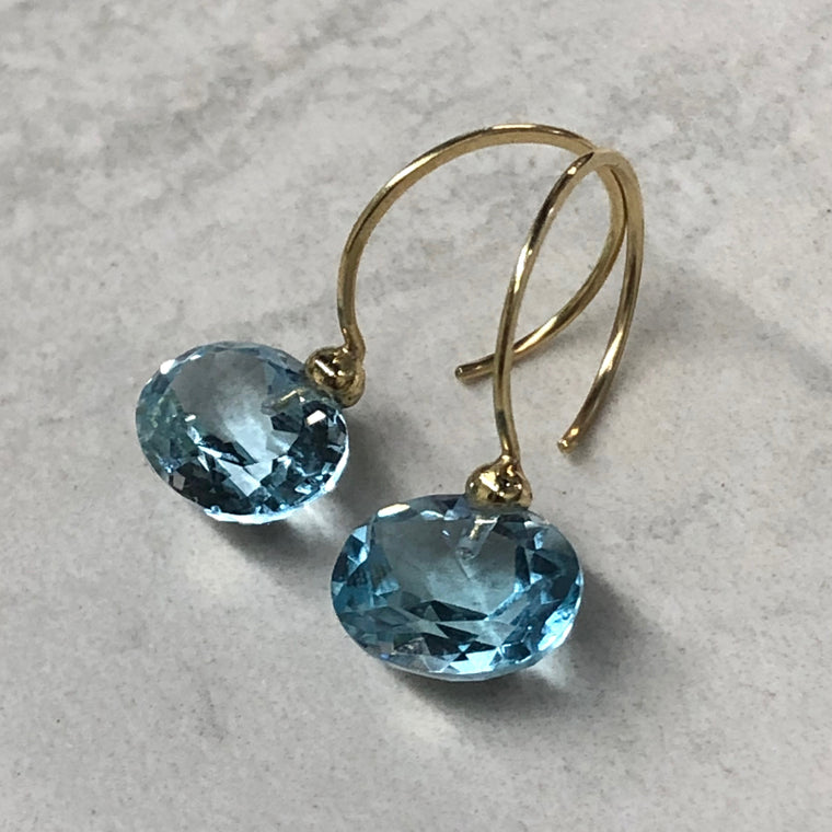 Gold Sky Blue Topaz Hoops