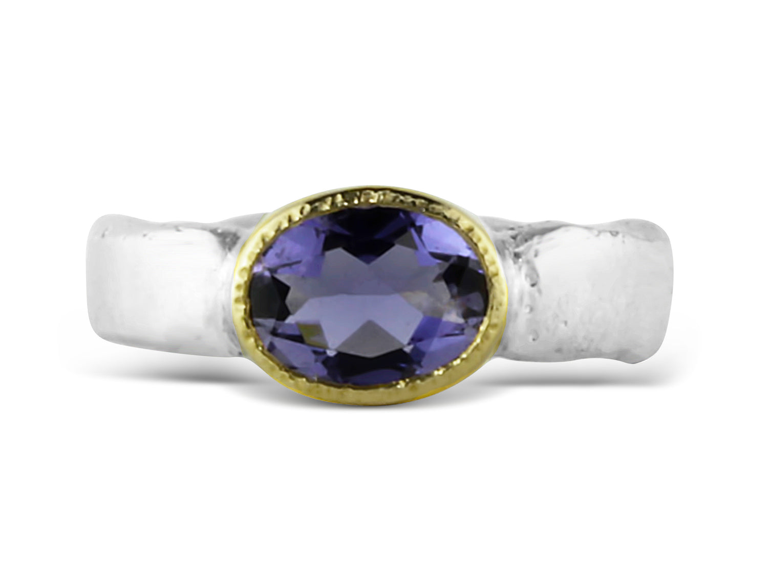 Gold and Silver Iolite Flow Ring