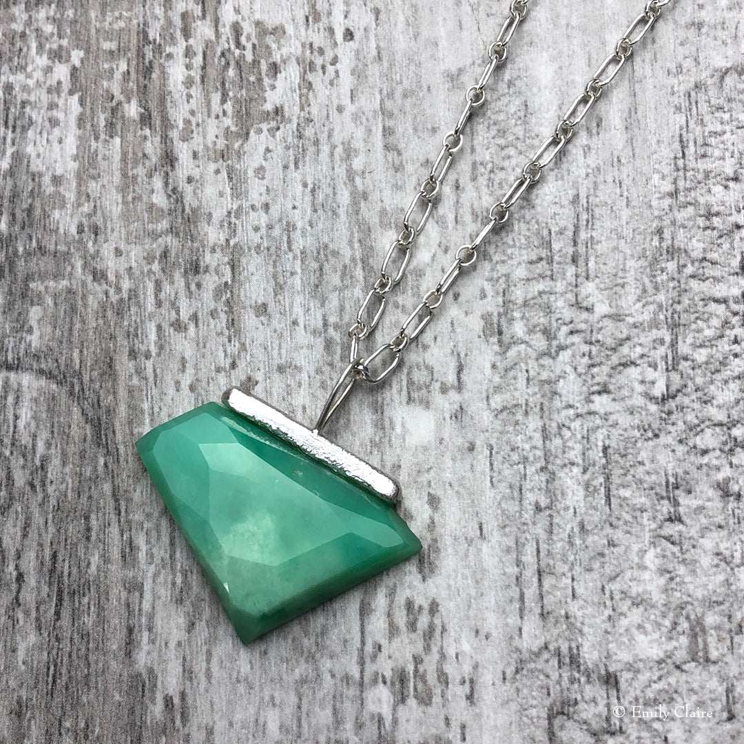 Large Chrysoprase Bar Necklace