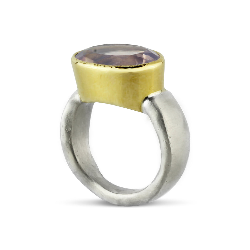 Gold and Silver Lavender Quartz Flow Ring