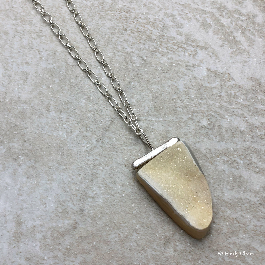 Long Cream Druzy Bar Necklace