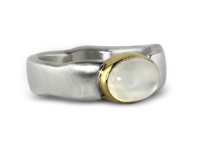 Gold and Silver Moonstone Flow Ring