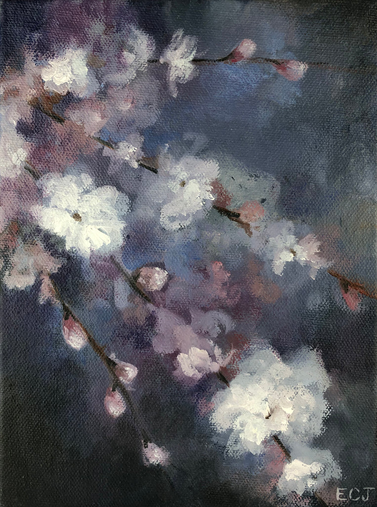 "NIght Blossoms I, 6""x8"""