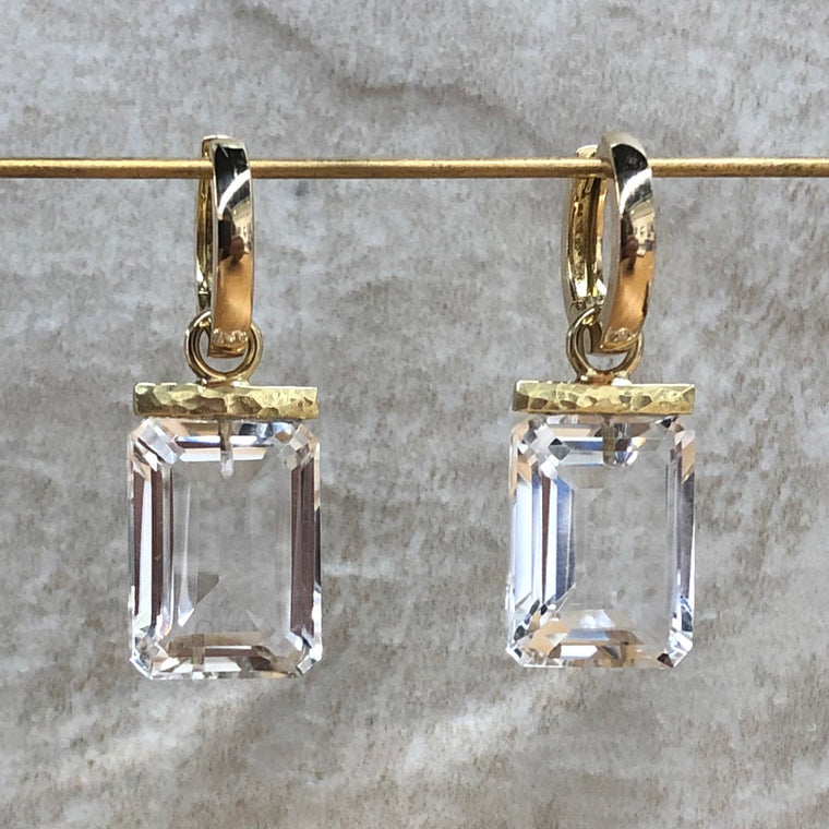 Gold Crystal Quartz Rectangle Hoops