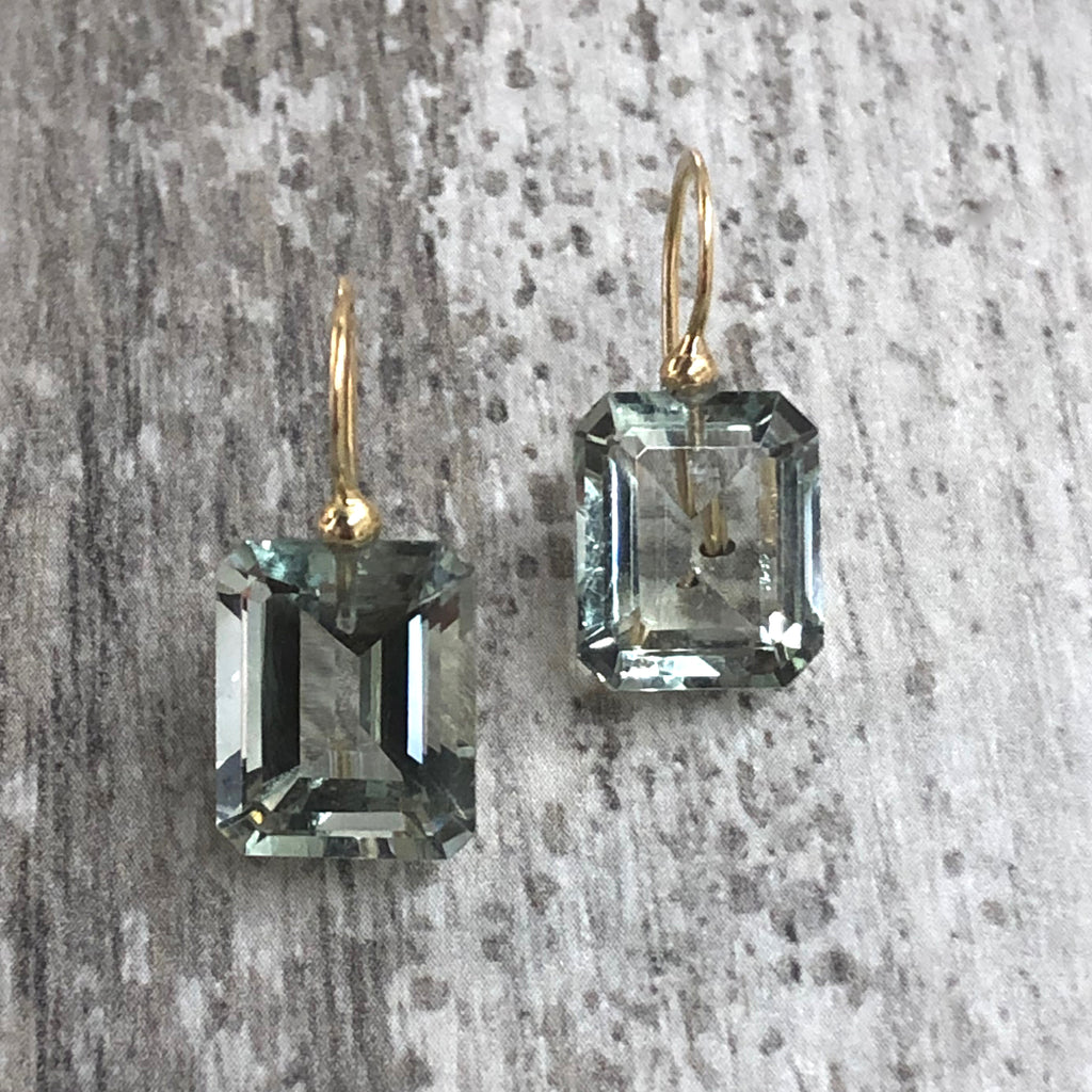 Gold Green Amethyst Rectangle Drops