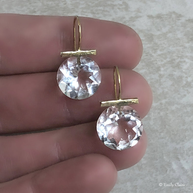 Gold Crystal Quartz Round Drops