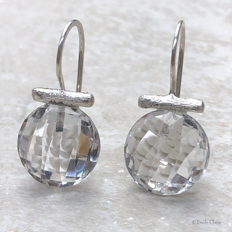 Crystal Quartz Bar Earrings