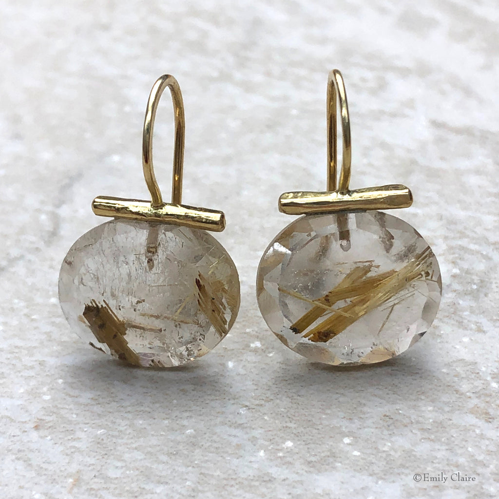 Gold Rutilated Quartz Drops