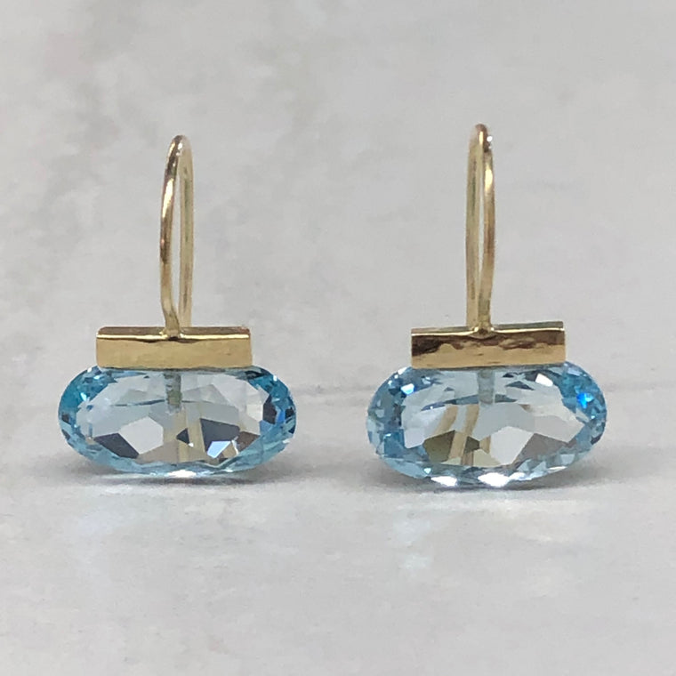 Blue Topaz Elongated Oval Bar Drops