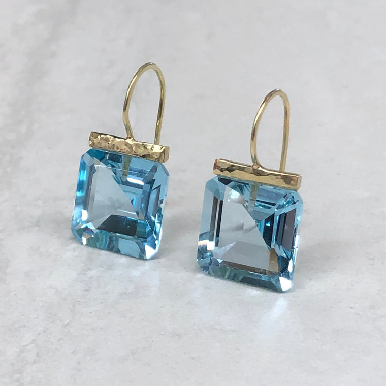 Blue Topaz Square Hammered Bar Drops