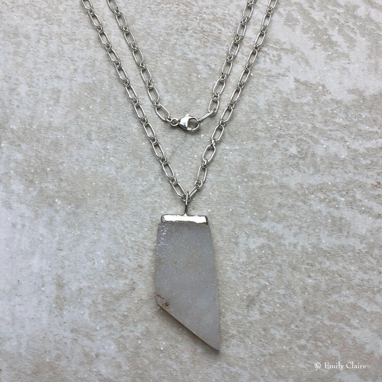 Sharp White Druzy Bar Necklace