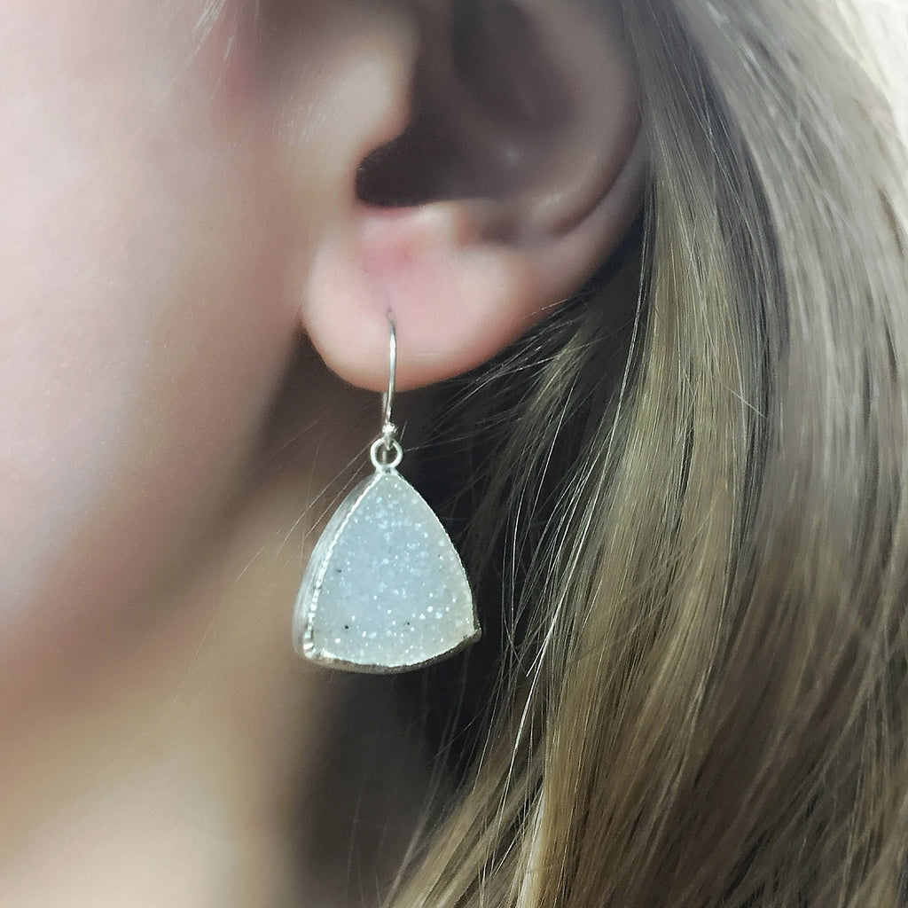 Silver Triangle Druzy Drops