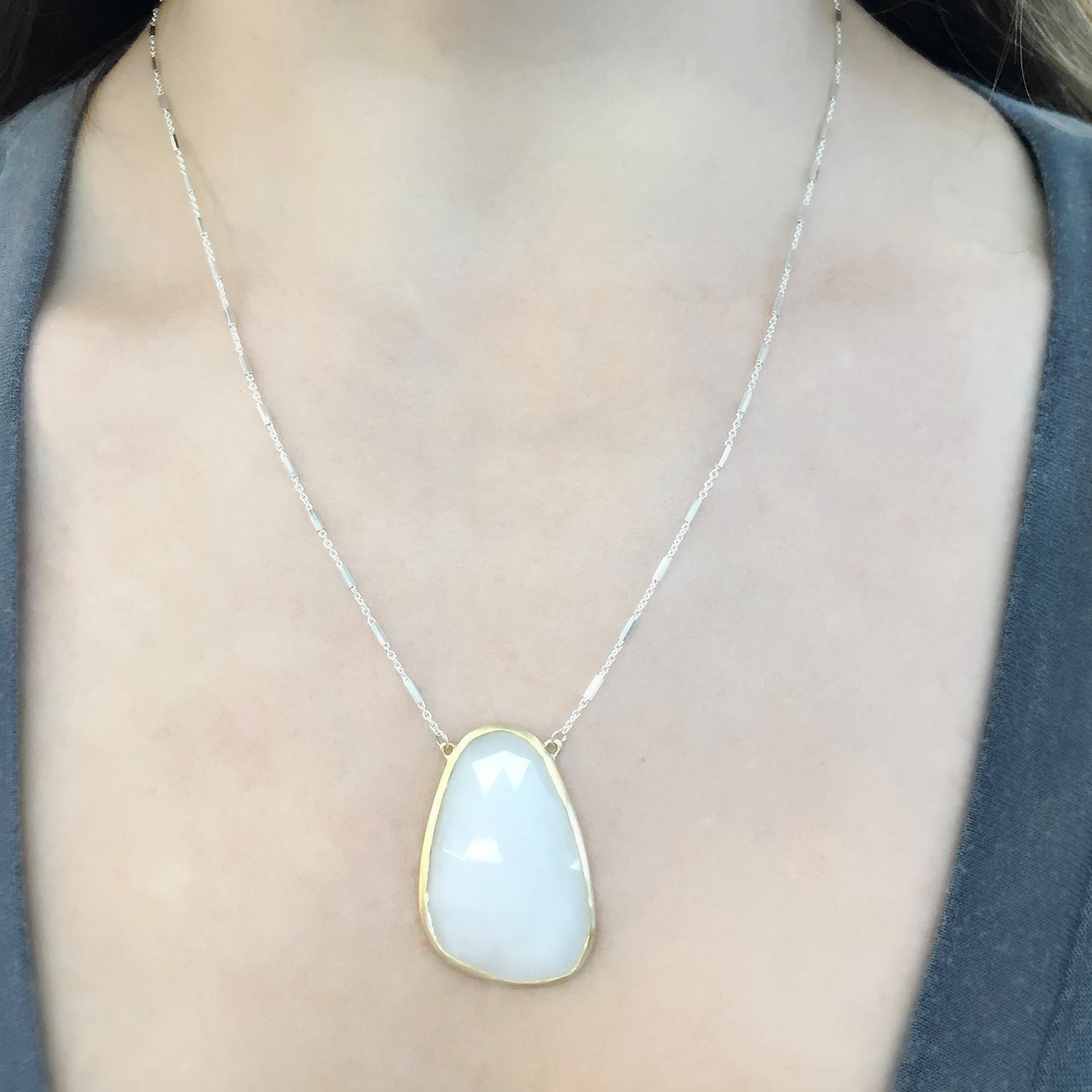 Gold and Silver White Quartz Necklace