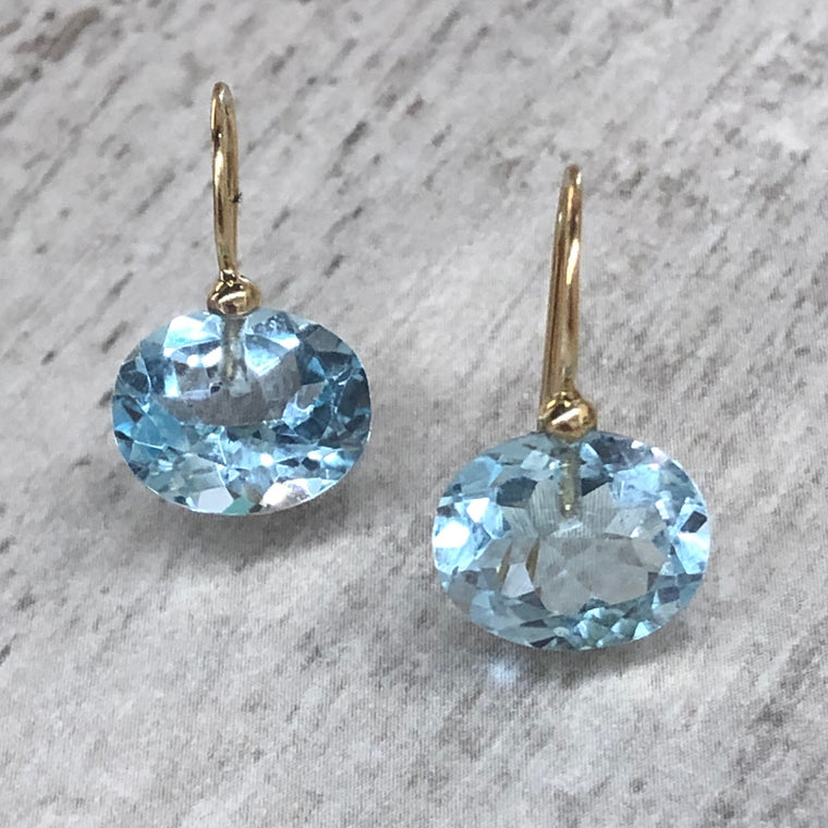 Gold Sky Blue Topaz Oval Drops