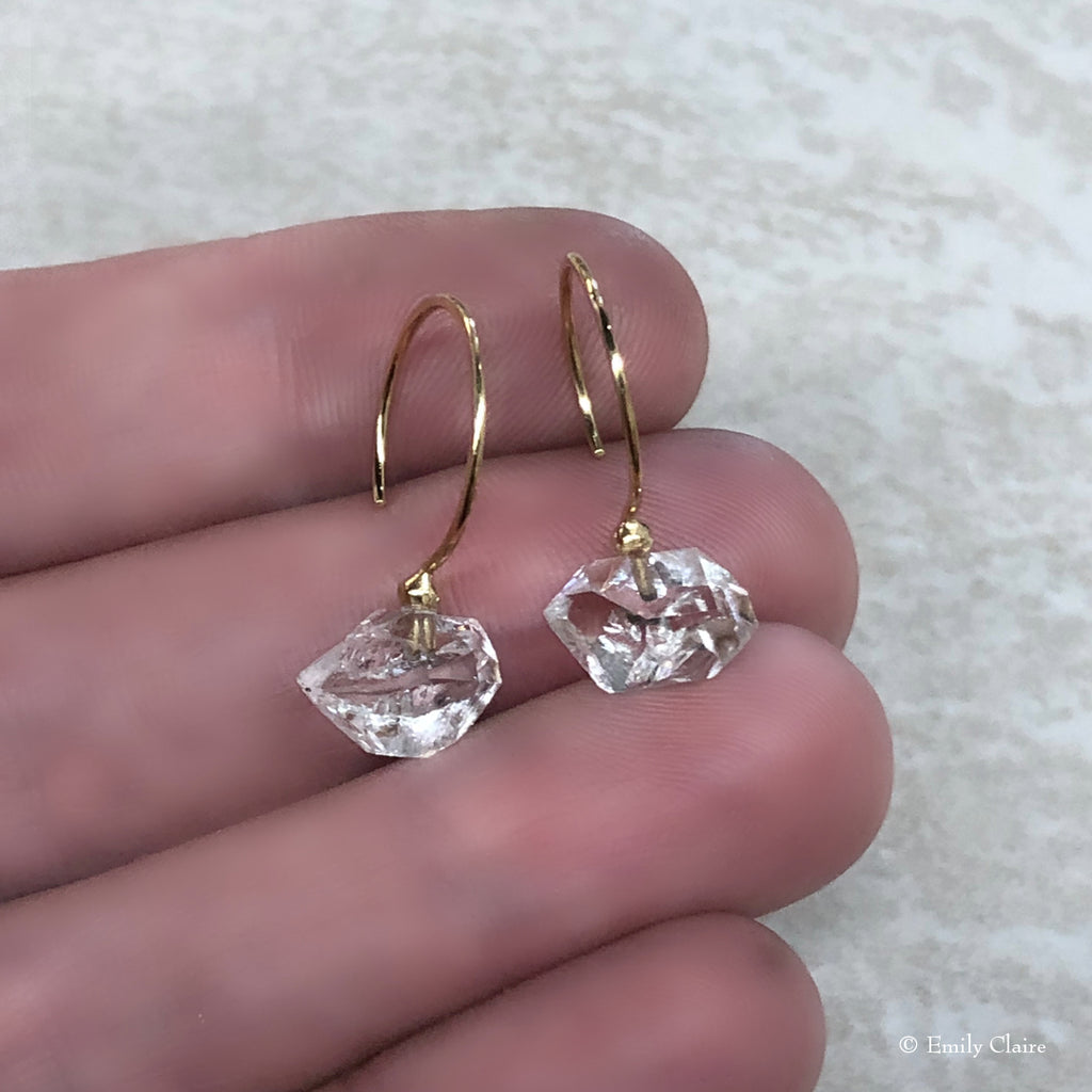 Gold Herkimer Diamond Hoops