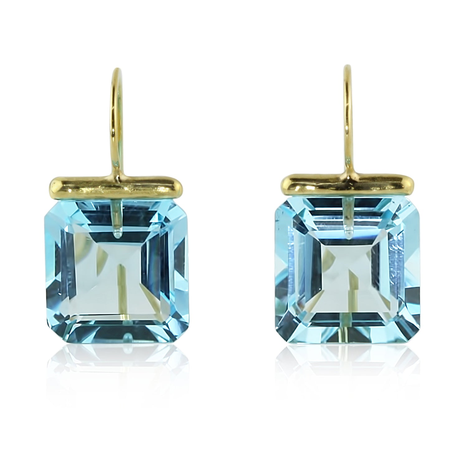 Blue Topaz Square Drops