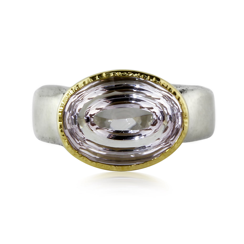 Gold and Silver Amethyst Swirl Ring