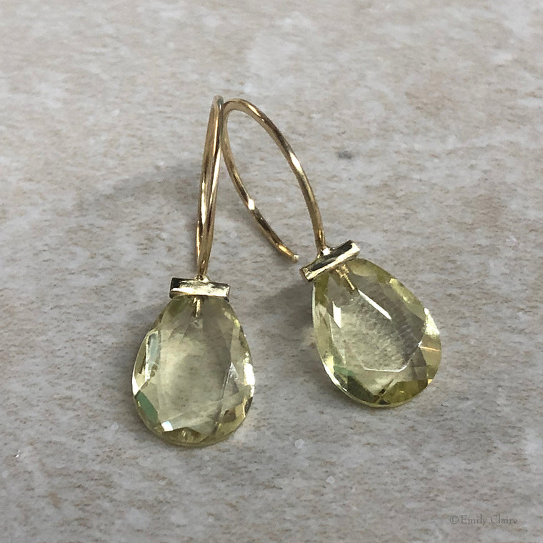 Gold Lemon Quartz Teardrop Hoops