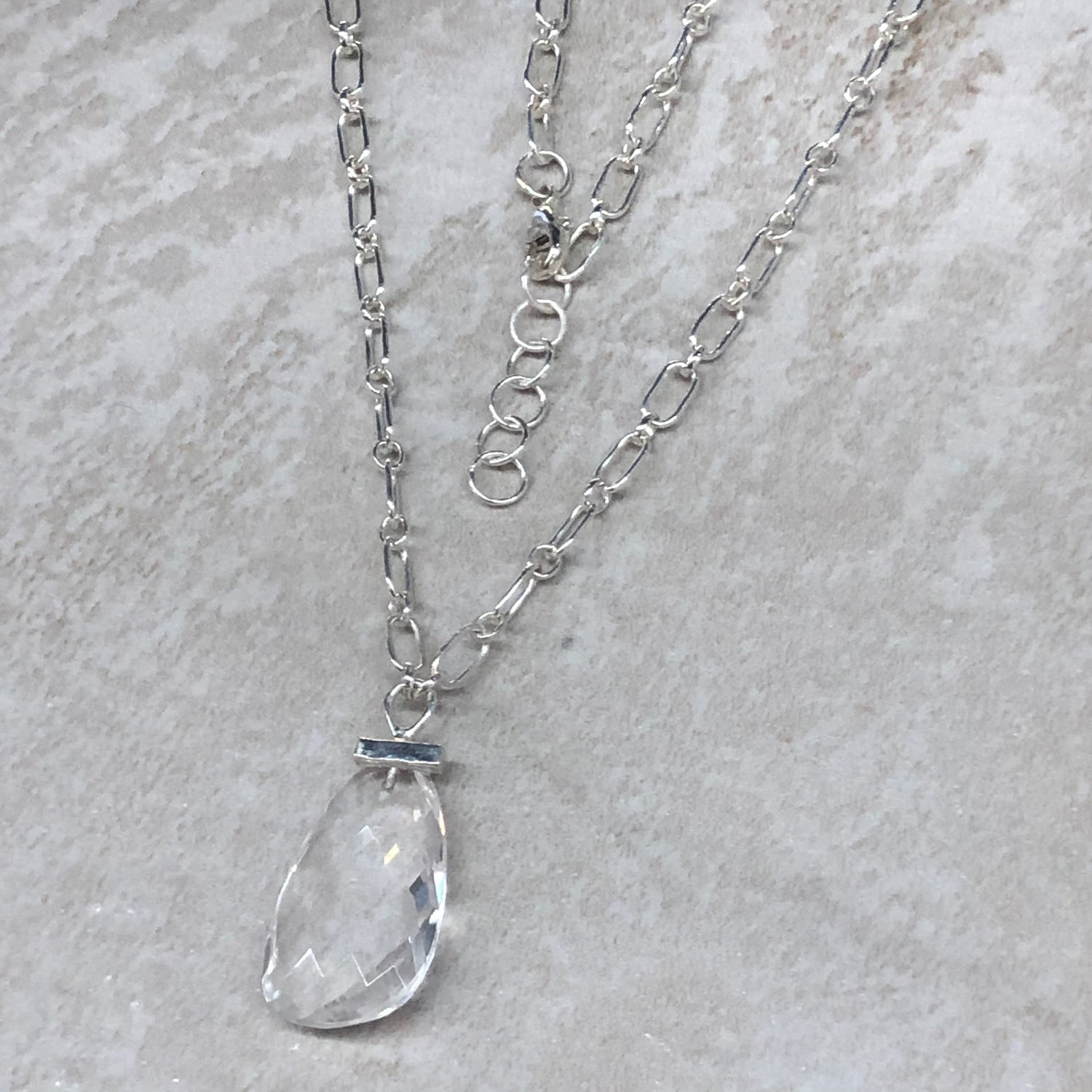 Teardrop Crystal Quartz Bar Necklace