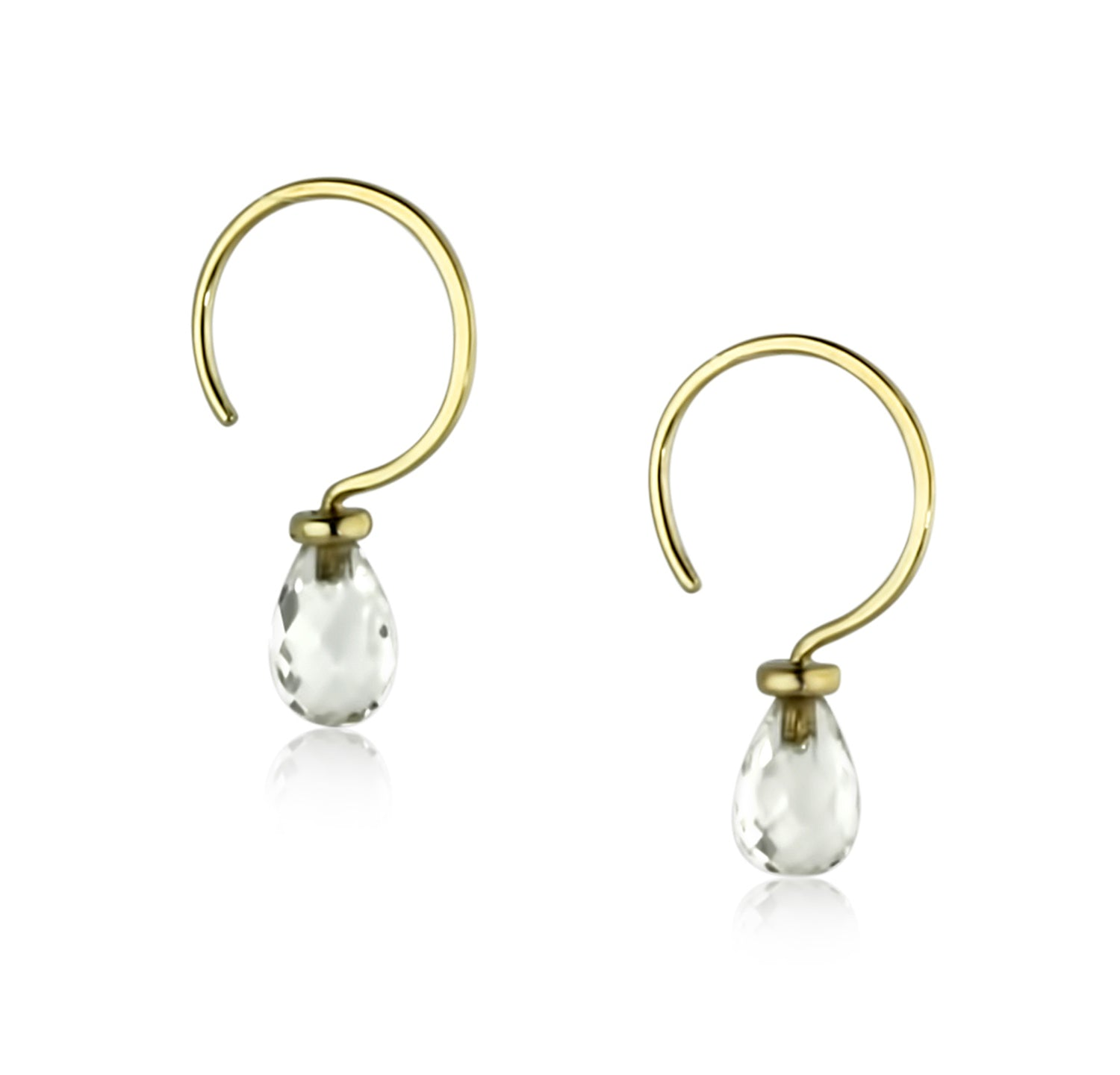 Tiny Gold Crystal Quartz Hoops