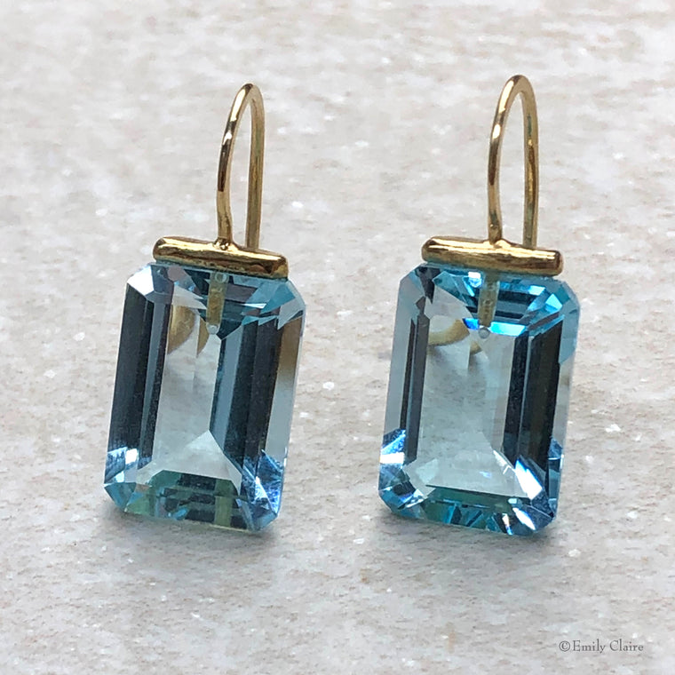 Blue Topaz Rectangle Drops