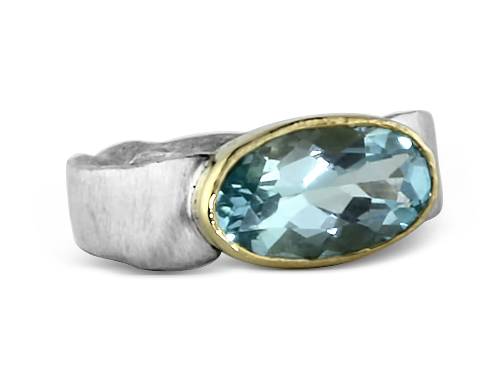 Gold and Silver Blue Topaz Flow Ring