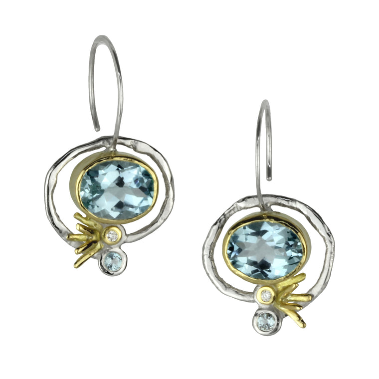 Topaz and Diamond Ellipse Hoops