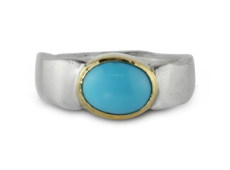 Gold and Silver Turquoise Flow Ring