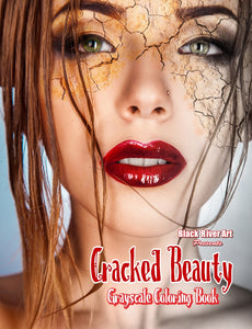 Cracked Beauty Grayscale Coloring Book