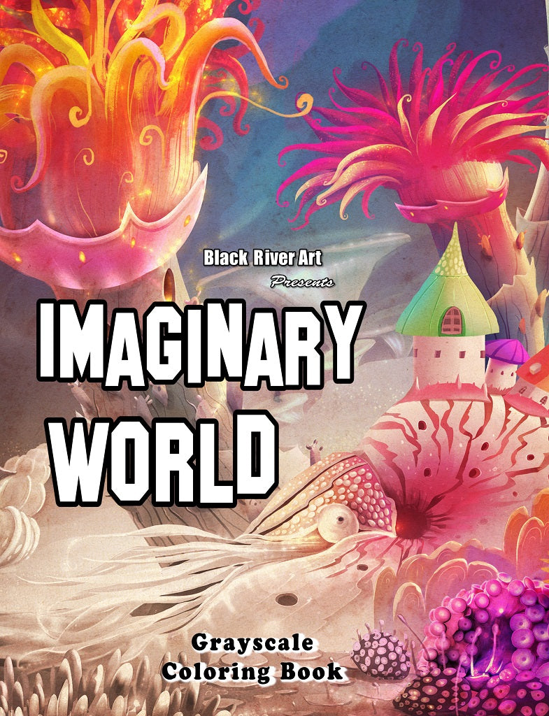 Imaginary World Grayscale Coloring Book Black River Art Wholesale