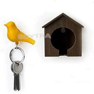 YITING 1Pc Lover Sparrow Birdhouse Keychain Home Wall Hook Bird Nest Holder Key Ring Gift