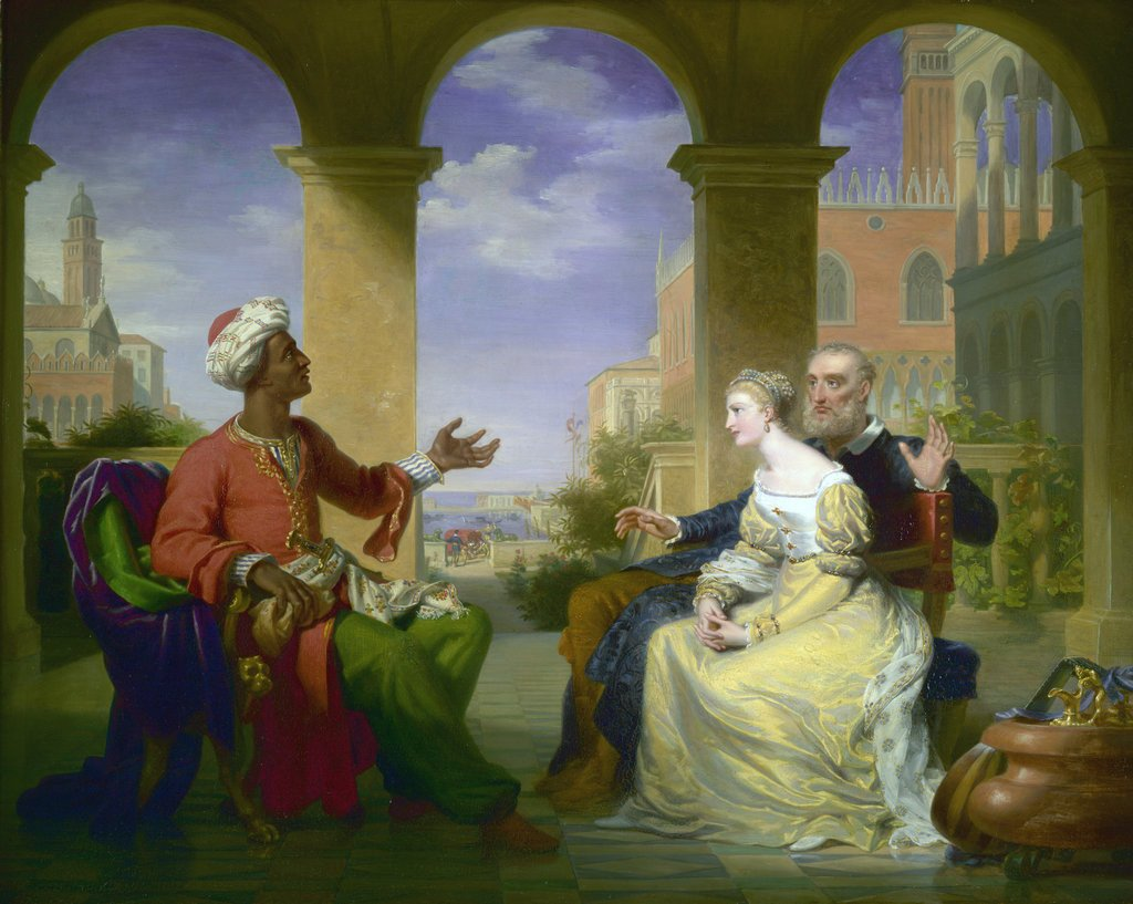 Detail of Othello relating the story of is life to Brabantio and Desdemona by Henri Jean-Baptist Victoire Fradelle