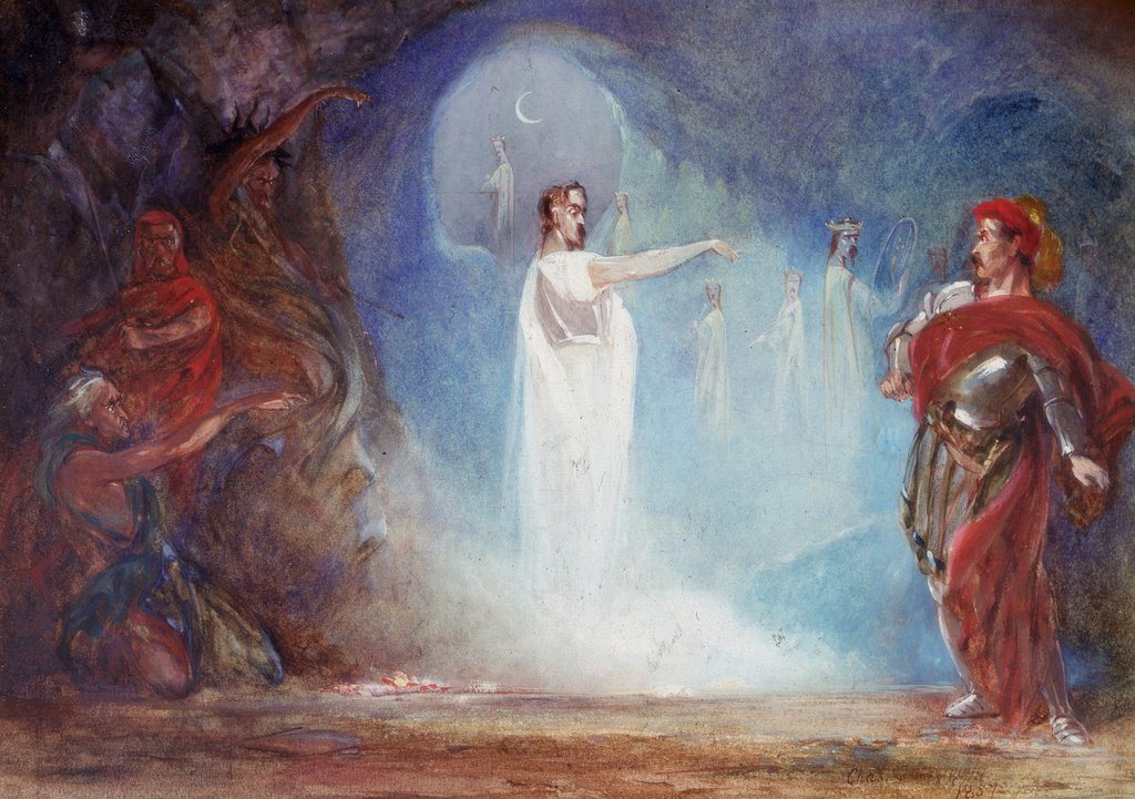 Detail of Macbeth, Act IV, Sc. i, Banquo's Ghost. by Charles Cattermole
