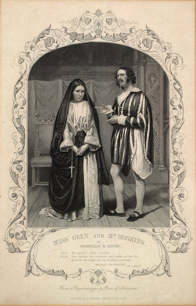 Detail of Miss Glyn and Mr Hoskins as Isabella and Lucio by Anonymous