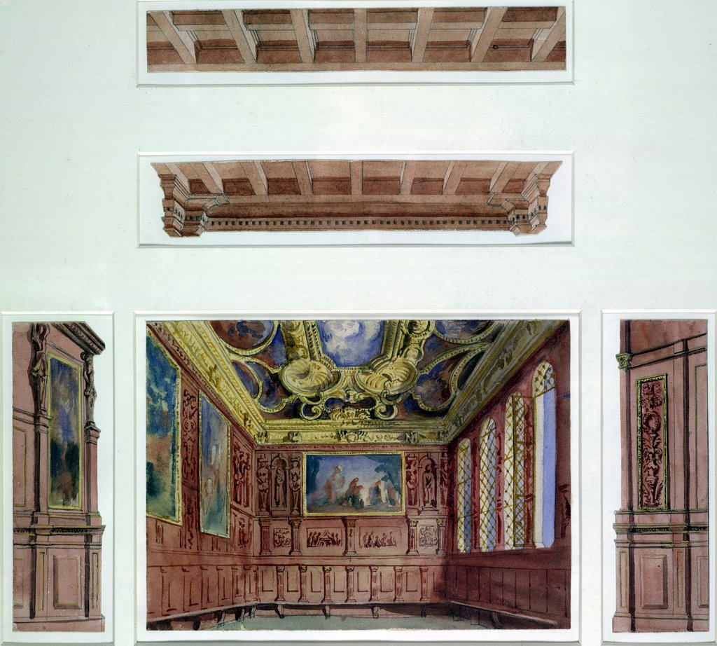 Detail of Set designs for The Doge's Palace, The Merchant of Venice by John O'Connor