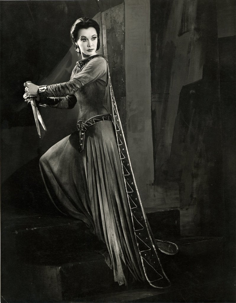 Detail of Macbeth 1955, Lady Macbeth grasps the bloodied daggers by Angus McBean