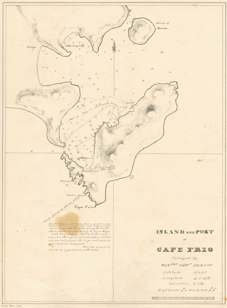 Detail of Chart of the Island and Port of Cape Frio by John Frederick Fitzgerald De Roos
