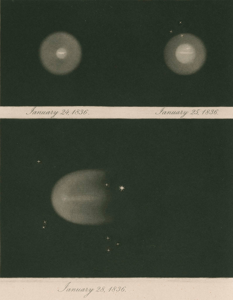 Detail of Halley's Comet, January 1836 by James Basire III