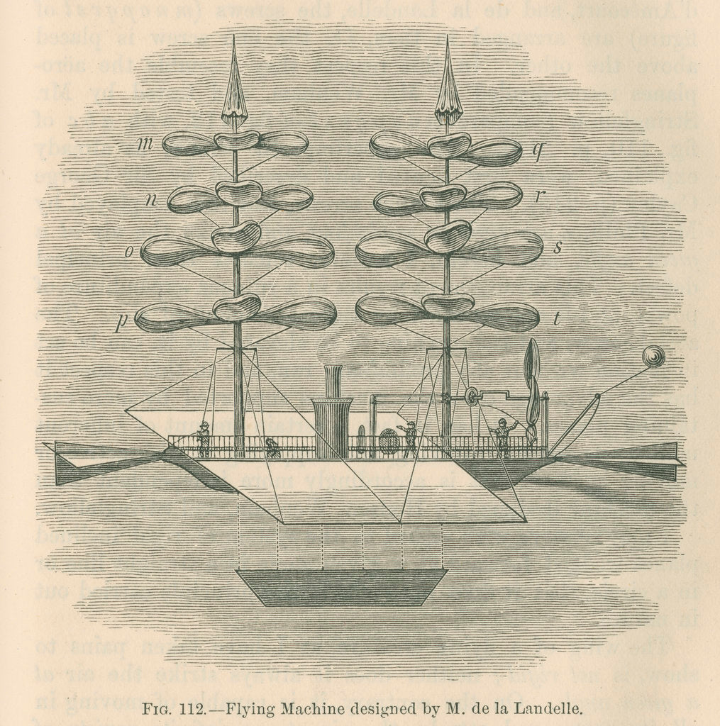 Detail of 'Flying machine designed by M. de la Landelle' by William Ballingall