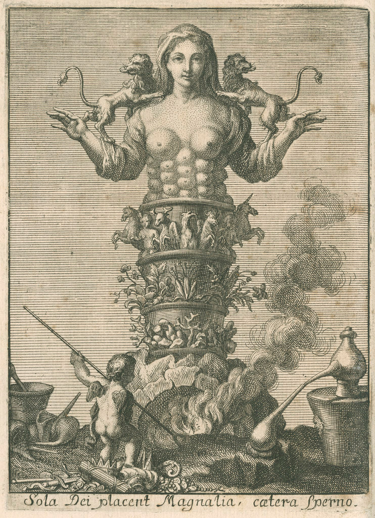 Detail of An allegory of chemistry and nature by unknown