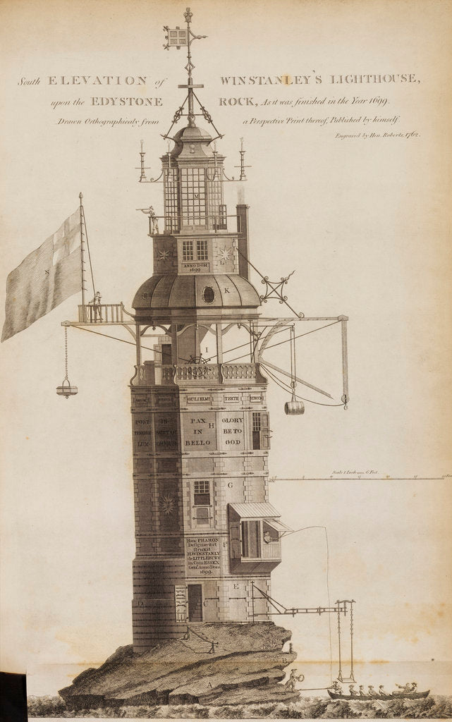 Detail of Winstanley's Lighthouse on the Eddystone Rocks by Henry Roberts