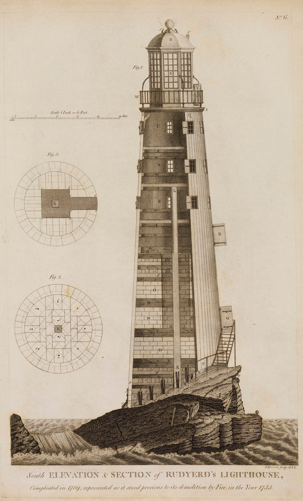 Detail of Rudyard's Lighthouse on the Eddystone Rocks by James Record