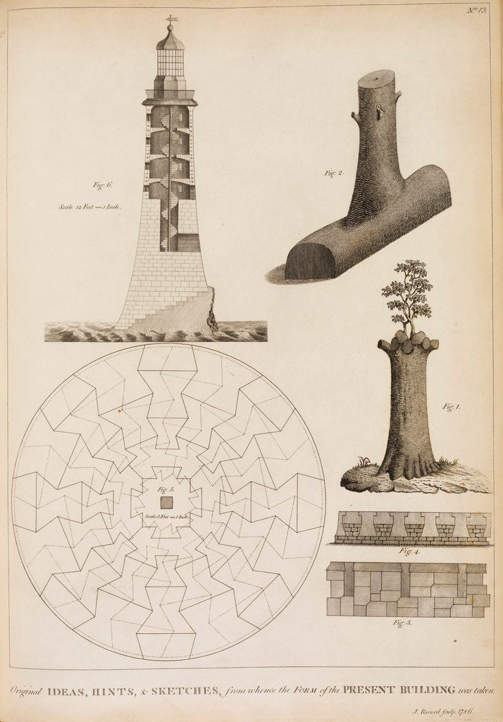 Detail of Ideas for Smeaton's Lighthouse on the Eddystone Rocks by James Record