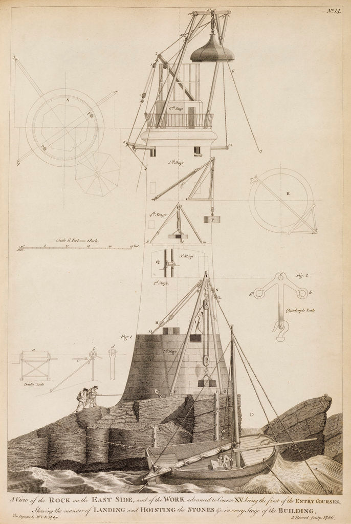 Detail of Smeaton's Lighthouse under construction on the Eddystone Rocks by James Record